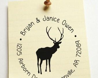 Return address stamp,SELF INKING custom address stamp,personalized family address stamp,wedding address stamp,deer,antler,R42