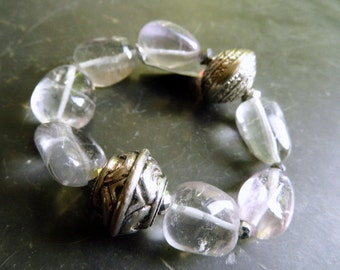 Bracelet, fluorite, clear, copper, silver-plated, jewelry, white, lilac