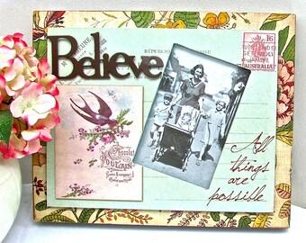 Sweet Vintage Frame, Photo Frame, Believe Frame, Inspirational Frame, Vintage Background, Wedding Frame, Baby Frame