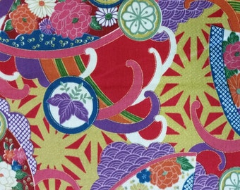 Sevenberry: Multi Colour Floral on Red Fabric