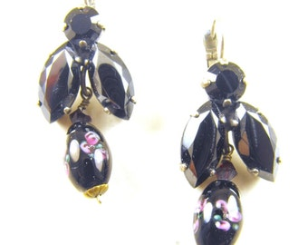 Vintage Earrings Hematite Painted Glass Rosebud Beads Bumble Bee Design For Pierced Ears