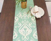 Tribal Ikat Linen Modern Table runner - Seafoam / Off White Combo