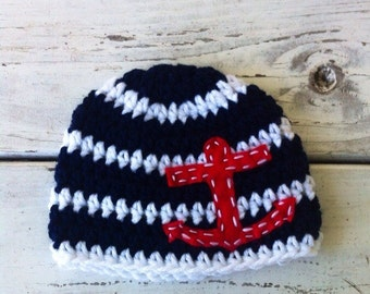 Nautical crochet baby boy beanie with red felt anchor- navy and white stripes Newborn to toddler sizes
