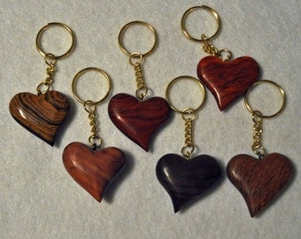 6 Wedding Favors     Wooden Heart Key Chain Variety  6 key chains Curly