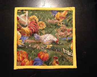 Hen, Chicken, Rooster Farm Yard Pot Holders, Machine Quilted