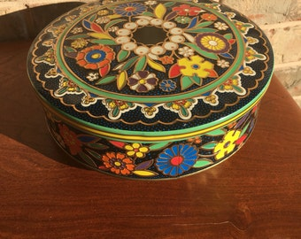 Vintage Floral Tin Can