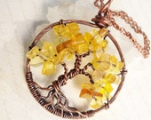 Tree of Life Necklace, Yellow Topaz, Copper Wire Necklace, Wire Work, Wire Wrapped, yellow gemstone, Talisman Necklace, holiday gift for her
