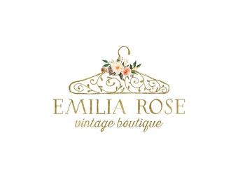 Premade gold boutique logo design, clothing shop logo, seamstress logo, clothing hanger logo, sewing logo 245