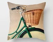 SALE, Pillow cover, bicycle pillow, bike pillow, green pillow, couch pillow, office decor, hipster gift, french decor, bicycle art, bike art