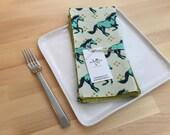 set of 4  reversible cotton napkins, horse, gold, teal, kitchen gift, housewarming, hostess gift