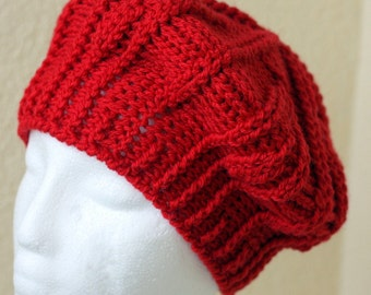 Crochet handmade red hat, red beret, winter hat, winter beret, demi cap.