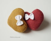 Knitted cotton heart - Cotton anniversary gift - Wedding ring bearer - Baby shower decorations - Plektra UK knits