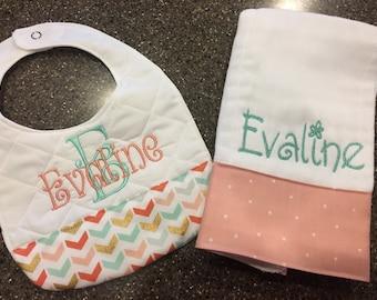 Personalized Monogrammed Custom Burp Cloth & Bib for Girls