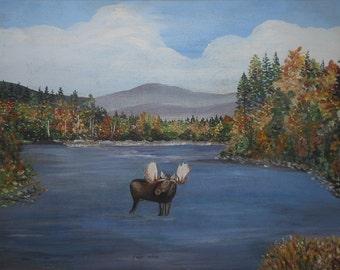 Vintage moose in stream painting maine