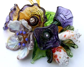 Lampwork Glass Flower Beads for Jewelry Making, Romantic Purple Bouquet  Set of Flower beads Made to Order
