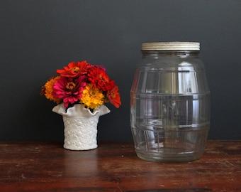 Vintage Barrel Shaped Glass Jar by Duraglass One Gallon Glass Bottle