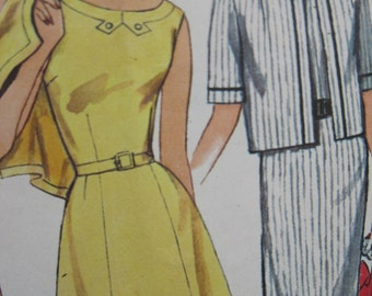 Size 18, bust 38 inches, pretty dress and jacket combo, circa 1960, Simplicity 4987, boxy jacket, fitted dress with scooped back neckline