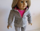American Girl Doll Clothes; Gray and Pink Three Piece Hoodie Outfit; Doll Hoodie; Doll Leggings; Doll Zippered Hoodie with Tee and Leggings
