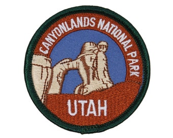 "Hiking Souvenir ""Utah Canyonlands National Park"" Patch Travel Iron-On Applique"