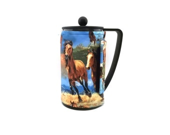 Horses Bodum French Press Coffee Pot Cozy / Fabric Coffee Cozy / RedLeafStitchCraft
