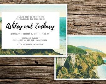 Big Sur Wedding Invitation Suite // California Coastal Wedding Invitation Vintage Beach Wedding Carmel Bixby Casual Boho Bohemian Kerouac