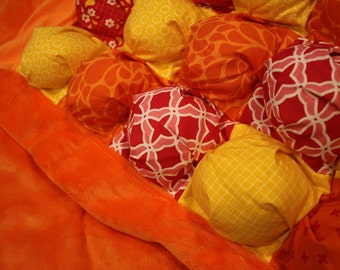 Bubble Blanket - Biscuit Quilt - Orange Pink Yellow - Baby Blanket with Orange Minky Edging and Backing - Ready to Ship