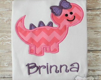Girly Dinosaur Handmade Embroidered Shirt or Bodysuit in Pink & Purple