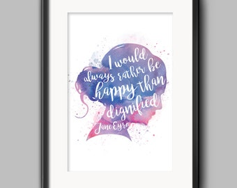 Jane Eyre - Watercolor Typography Poster