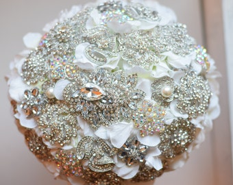 Ready to Ship Crystal 13 inch Brooch Bouquet Petal Bridal Bouquet