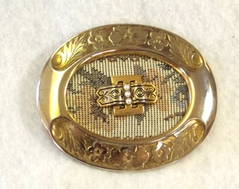 Antique Sash Pin - Tapestry Accented Brooch - Vintage Victorian Revival Jewelry - Wedding Jewelry