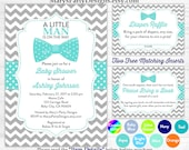 Little Man Baby Shower Invitation - Boy Baby Aqua Turquoise Bow Tie Sprinkle Free Diaper Raffle Ticket Book Request Card Personalized Print