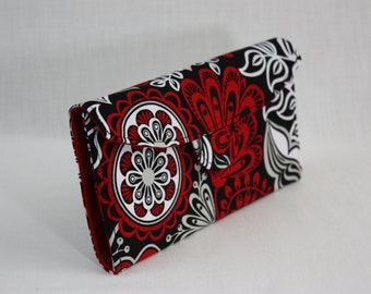 Black and Red Floral Signature Wallet