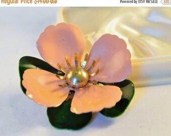 "ON SALE Vintage  Sarah Coventry 1969 ""Tahitian Flower"" in Salmon Enamel Large Flower Brooch - Exquisite"