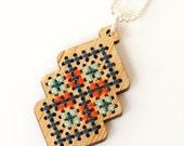 Cross Stitch Jewelry Kit - DIY Bamboo Pendant with Interlocking Diamond Pattern