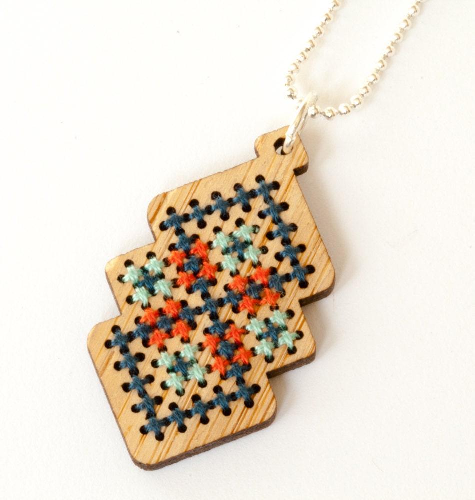 cross stitch jewelry kit diy bamboo pendant with