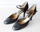 CHARLES JOURDAN vintage elegant black suede leather high heel ankle strap shoes 38 7.5