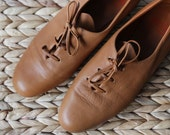 ARCHE French vintage camel brown buttery soft leather simple minimalist flat low heel shoes 38 7.5