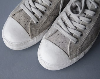 Vintage grey perforated suede white rubber sole cap toe low top tennis sneakers shoes unisex Size 41