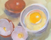 Cracked Egg in White Bowl, Original Oil Painting, 6 x 6 inches