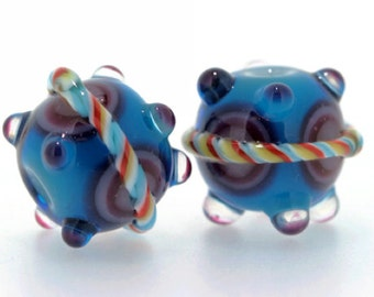 "handmade Lampwork Glass Beads set 2PCS "" Candy Cane"" A14 in blue  SRA Shirley"