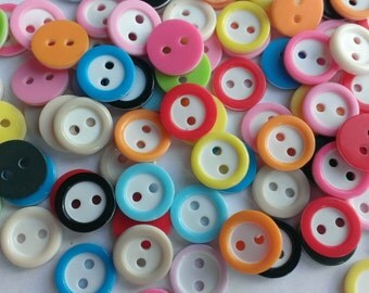 50pcs Dyed RESIN Round 2-Holes Kids Buttons Craft Buttons Sewing Bottons Clothes Diy Accessories Bottons ,2016 Button,11mm Mix Colors
