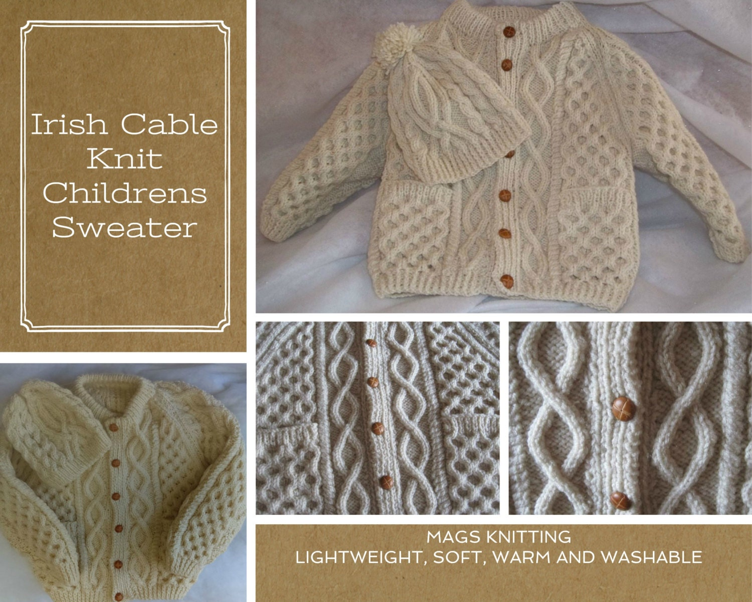 Irish Cable Knit Sweater Patterns : Irish Cable Knit Style Childrens Sweater by MAGSKNITTING on Etsy