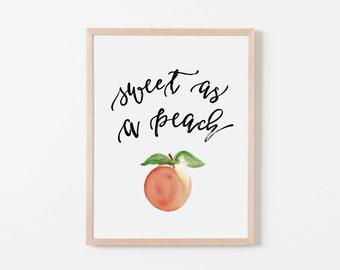 Sweet As A Peach Nursery Art. Nursery Wall Art. Nursery Prints. Girl Wall Art. Peach Wall Art. Fruit Wall Art.