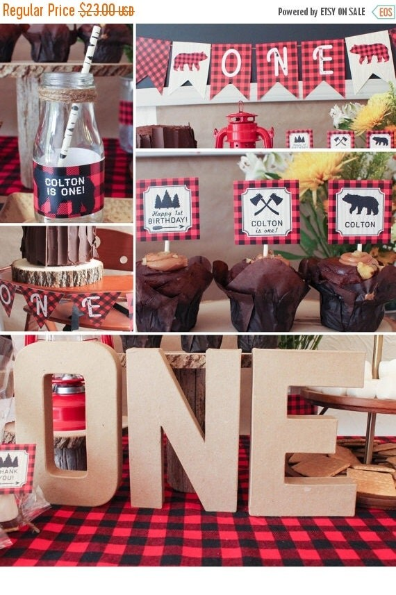 On sale lumberjack first birthday party by coralballoon on for 1st birthday decoration packages