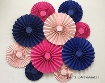 Paper Rosettes/ Fans - Set of 10 - Royal Blue, Fuchsia, Light Pink