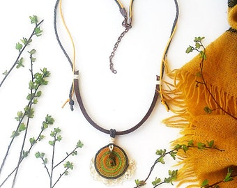 Boho Orange Necklace on leather cord, Bright pendant with tiny key, Hippie Jewellery