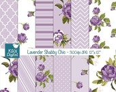 70% SALE Lavender Shabby Chic Digital Papers, Digital Scrapbook Papers, Shabby Chic Papers - card design, invitations, background - INSTANT