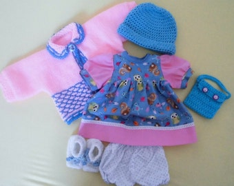 "6 pcs dolls clothing set for 16""/17"" waldorf dolls or Baby Born etc."