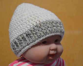 Baby Hat, Crocheted Hat, White Hat, 12 to 18 months