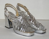 Vintage Silver Disco Platform Sandals from the 70s Size 8.5